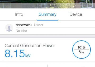 Screenshot z aplikacji mobilnej, chwilowa moc 101%